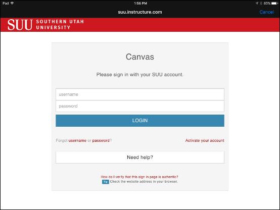 Screenshot of the login page.