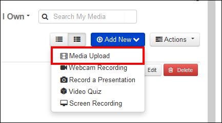 Screenshot of the Media Upload button.