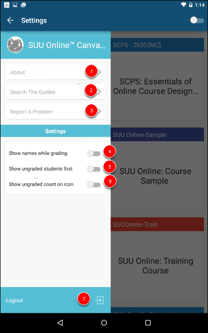 Screenshot of the menu pane.