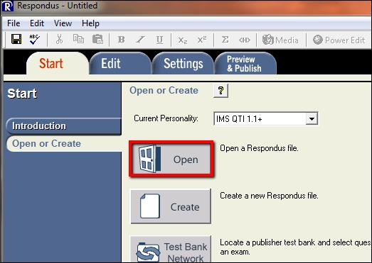 Screenshot of the Open button.