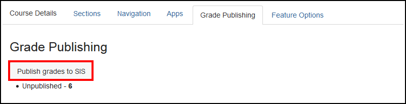 Screenshot of the Publish grades to SIS button.