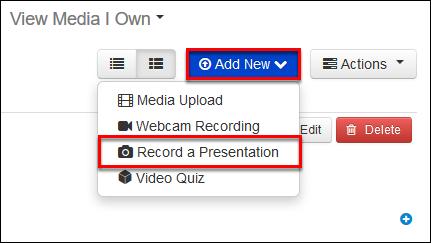 Screenshot of the Record a Presentation option.