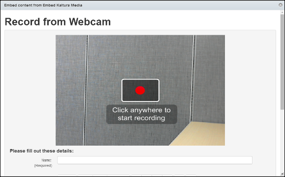 Screenshot of the Record from Webcam window.