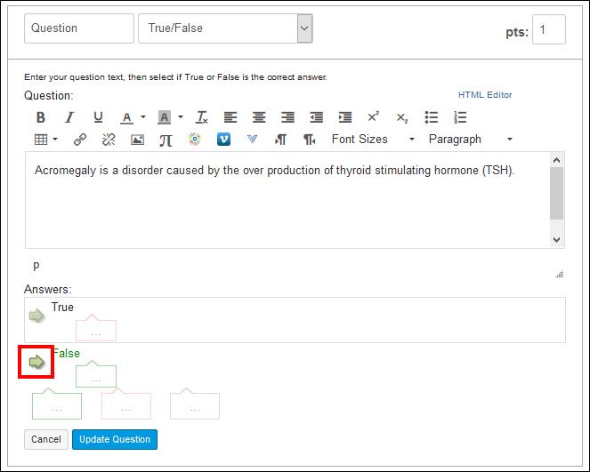 Screenshot of the regrade options.