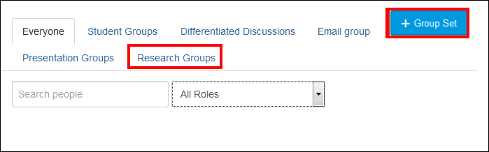 Screenshot of the Research Group tab.