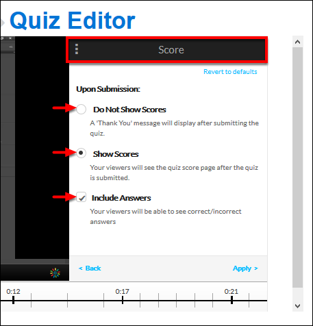 Screenshot of the Score window.