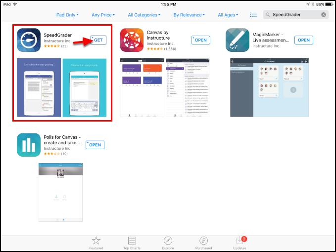 Screenshot of the SpeedGrader app.