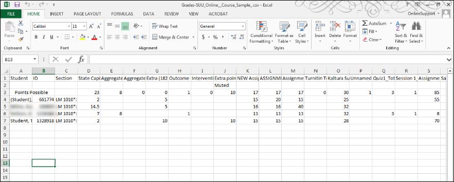 Screenshot of the spreadsheet.