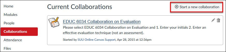 Screenshot of the Start A New Collaboration button.