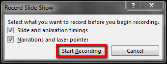 Screenshot of the Start Recording button.