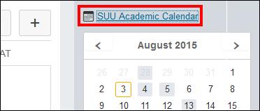 Screenshot of the SUU Academic Calendar button.