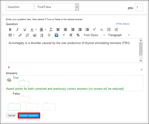 Screenshot of the Update Question button.