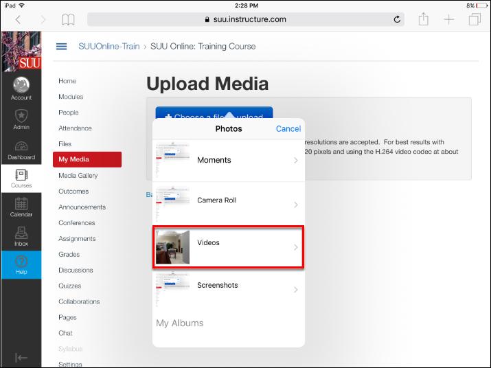 Screenshot of the Videos option.