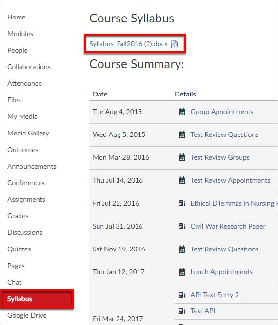 Syllabus Page