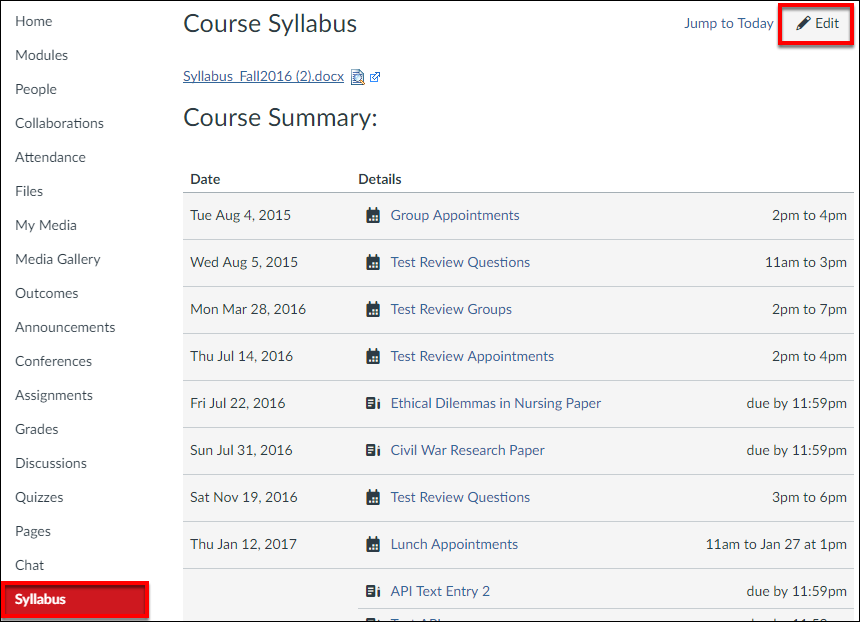 Syllabus Tab and Edit Button